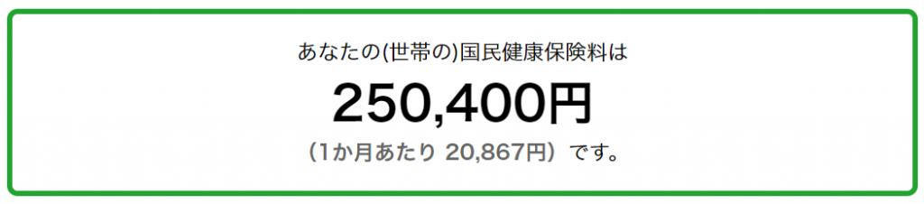 千代田区の国民健康保険料シミュレーション結果 課税所得250万円の場合