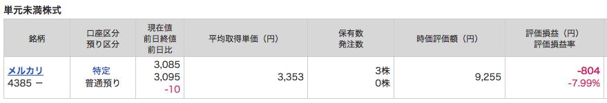 マネックス証券 メルカリ株 評価額