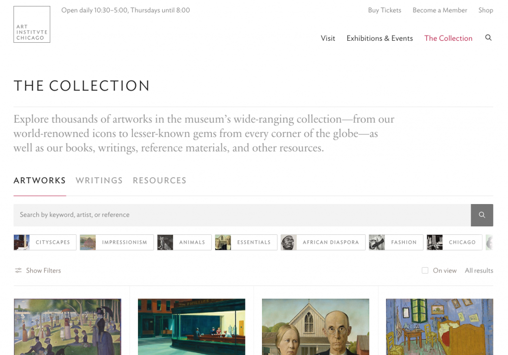 ART INSTITVTE CHICAGO thecollection page