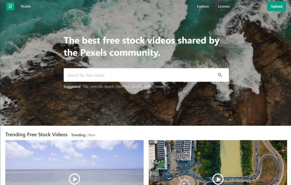 クレジット表記不要の無料動画素材サイトpexelsトップ画面スクショ