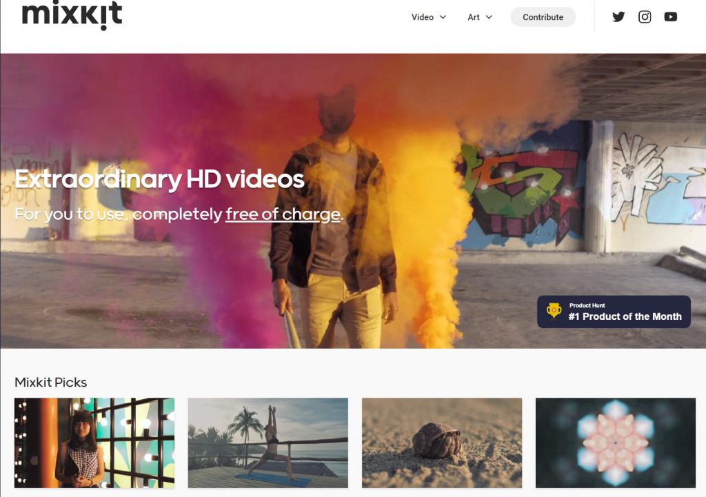 クレジット表記不要の無料動画素材サイト mixkitトップ画面スクショ