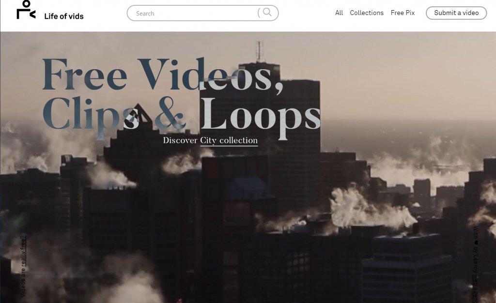クレジット表記不要の無料動画素材サイトlife of vidsトップ画面スクショ