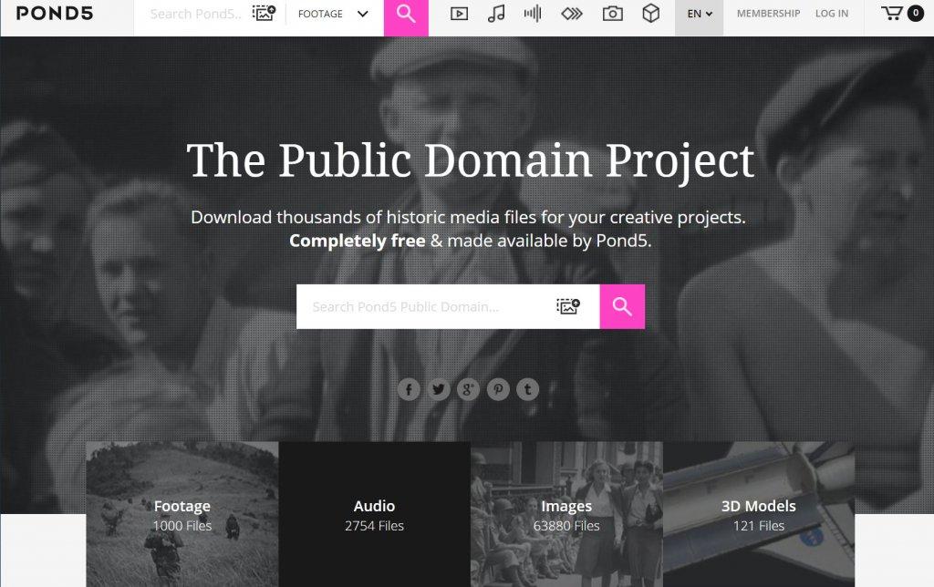 クレジット表記不要の無料動画素材サイト pond5トップ画面スクショ